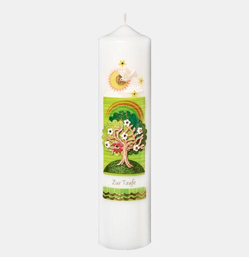Christliche Kerze zur Taufe - Regenbogen